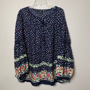 Suzanne Betro boho floral blouse plus size 2X